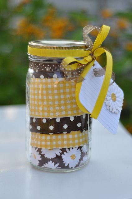 Put an apron in a mason jar and write out a recipe