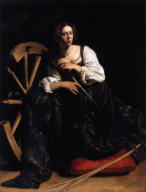 Caravaggio, Saint Catherine of Alexandria, 1598, the light is so delicate in paintings by Caravaggio. Description from pinterest.com. I searched for this on bing.com/images