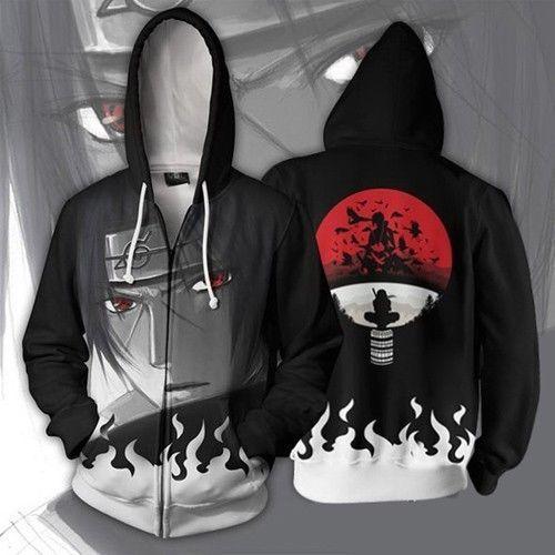 Akatsuki Uchiha Itachi Zip Hoodie Zipper Hooded Crow Printed Hoody Sweatshirt