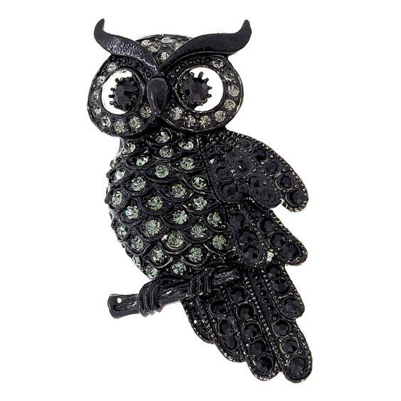 Black Owl Crystal Bird Pin Brooch