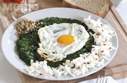 Spinach with eggs and cheese