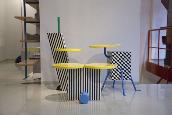 O outro grande nome do grupo, Michele De Lucchi, criou estas três mesinhas acima: Flamingo, Polar e Kristall (da esq. para a dir.)