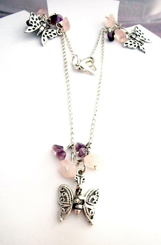 £8.50 Butterfly Earring and Necklace Set with Pink Rose Quartz by Onuava