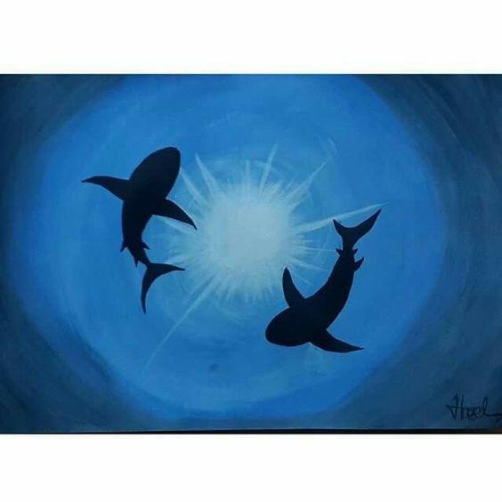 Sharks - Acrylic Paint (exercise)