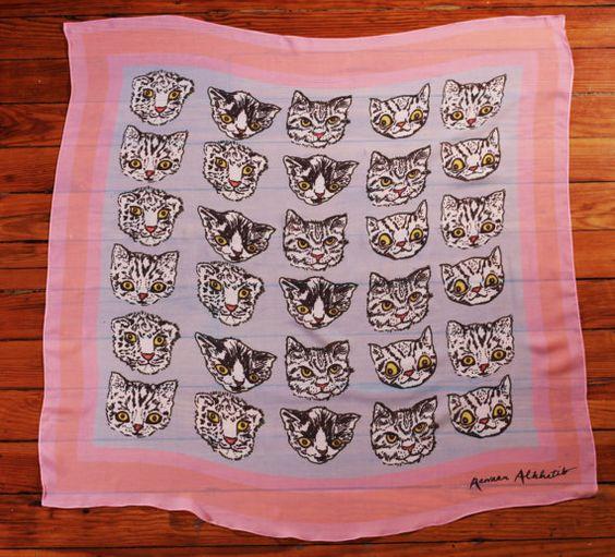 Terrorcats Silk Scarf by rawaanalkhatib on Etsy $95