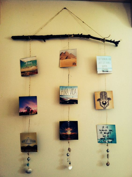 Photo craft ideas photo walls love the and pictures - Diy bohemian wall art ...