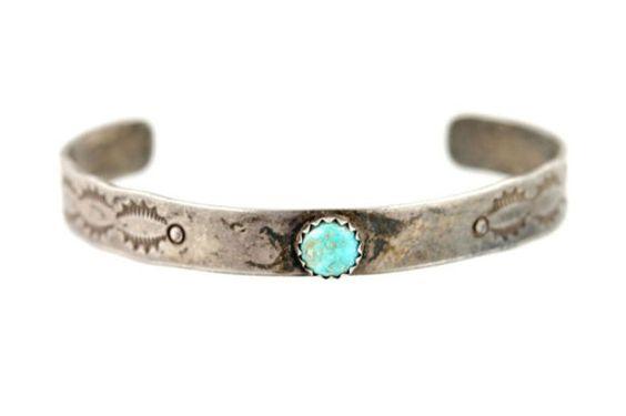 Navajo Sterling Silver & Turquoise Bracelet Fred Harvey Era