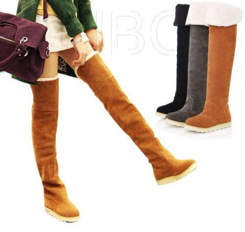 fashion Women Winter Fur Lined Low Heel Over The Knee Thigh High ...