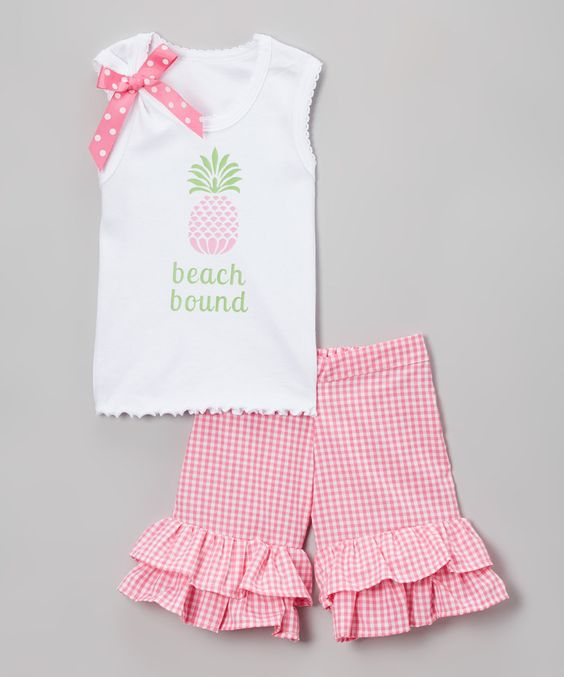 Loving this Pink 'Beach Bound' Tank & Ruffle Shorts - Infant, Toddler & Girls on #zulily! #zulilyfinds