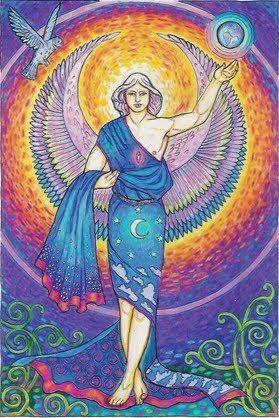 """Arcángel Raziel : """" Secreto de Dios """" Se dice que conocer todos los secretos del universo y ayuda con la espiritualidad y la clarividencia . Él puede abrir hasta los niveles más altos de habilidades psíquicas y aumentar su capacidad de ver , oír , saber y sentir la guía divina . También ayuda con la alquimia , la magia divina y la manifestación . Crystal afinidad : Cuarzo claro.☀"""
