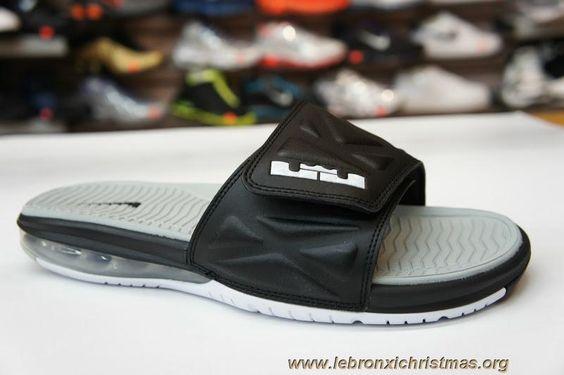 Nouveau Noir Blanc Strata Gris 554713 010 Nike Air LeBron Slide 2