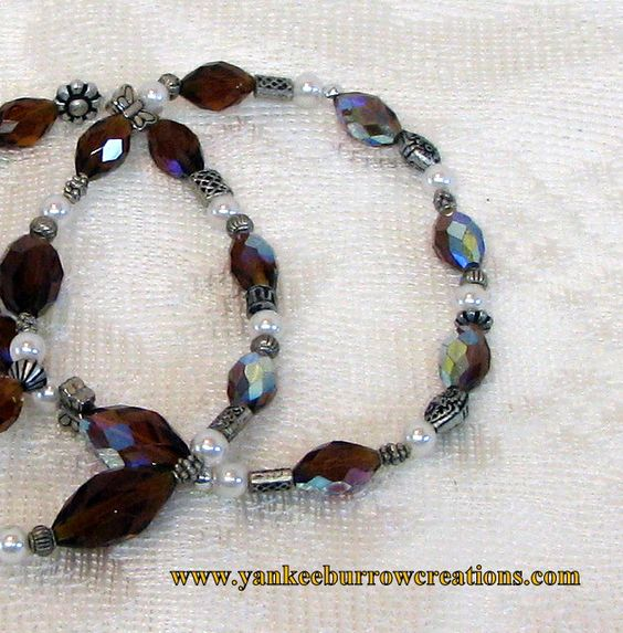 Silver Amber Beaded Vintage Necklace $22.00 thecraftstar