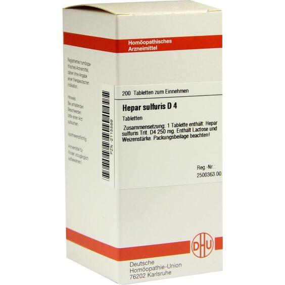 HEPAR SULFURIS D 4 Tabletten:   Packungsinhalt: 200 St Tabletten PZN: 02115569 Hersteller: DHU-Arzneimittel GmbH & Co. KG Preis: 10,19…