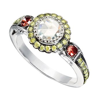 Eighteen-karat white gold and diamond ring with green and orange diamond accents, Sethi Couture.