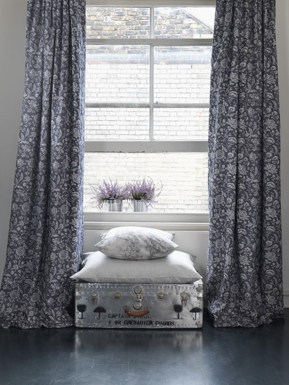 Cabbages & Roses French Toile Black Fabric Curtains | Living ...