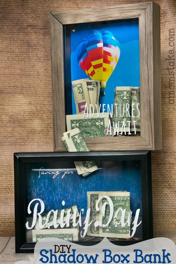 shadow box with personalised background, painted glass design and money slot