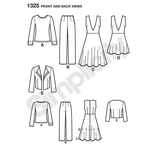 Simplicity Pattern 1325 Misses' Pants, Jumper or Tunic, Jacket & Top: