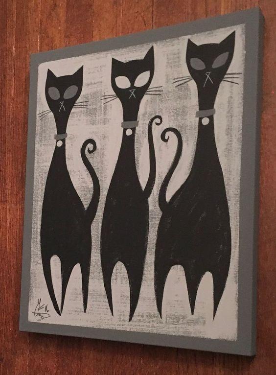 El Gato Gomez Painting Retro 1950's Atomic Era Mid Century Modern Black Cats Mod   eBay