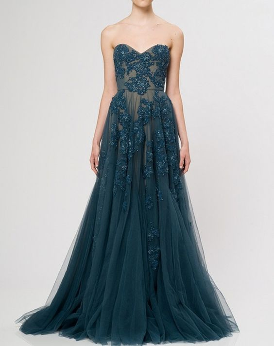 Reem Acra. An absolutely beautiful floor-length lace dress in a teal blue emerald color. Just beautiful.: