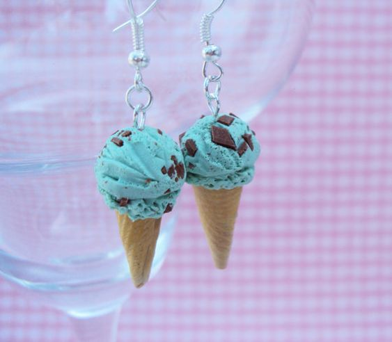 Mint Chocolate Chip Ice Cream Polymer Clay Earrings
