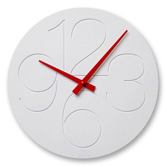 "11.5"" diameter wall clock. Made of high quality white textured ABS with engraved numerals. Quartz movement and metal hands."