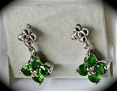 Russian Diopside Round Studs Platinum overlay Nickel Free Sterling Silver 1.12ct      $40.00