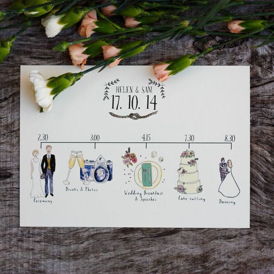 bespoke illustrated wedding schedule by rebecca mcmillan illustration | notonthehighstreet.com