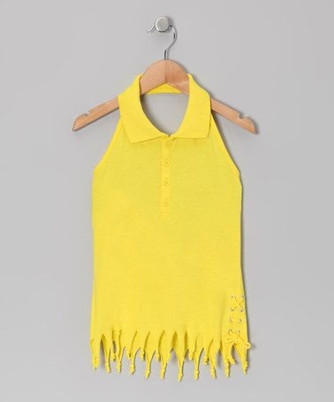 Take a look at this Lemon Fringe Halter Top - Girls by Dreamstar on #zulily today!