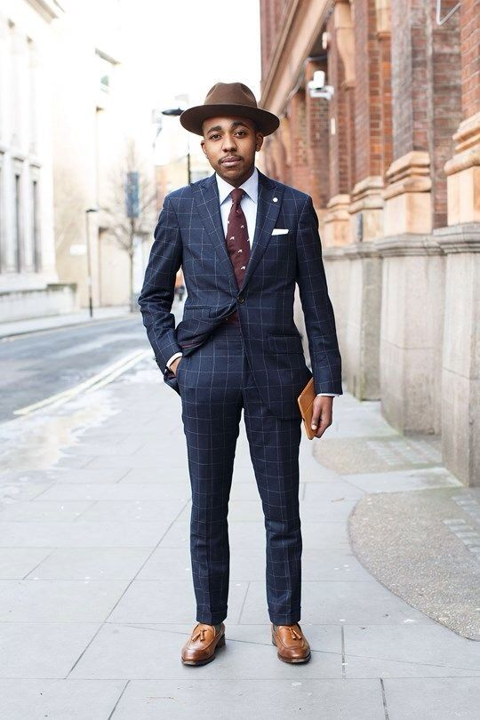 Blue check suit, burgundy tie and tan tasseled loafers