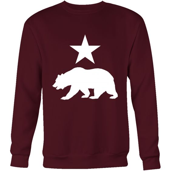 Men's Pull-Over Sweatshirt (California Bear and Star Design) (Multiple Colors and Sizes!)