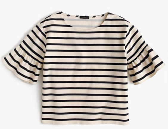 Ruffle-Sleeve Top in Nautical Stripe