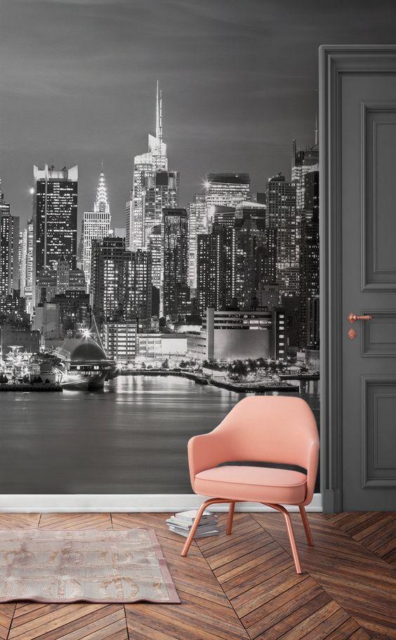 Foto Murales New York.Carta Da Parati Murale Con Panorama Di New York Aesthetic