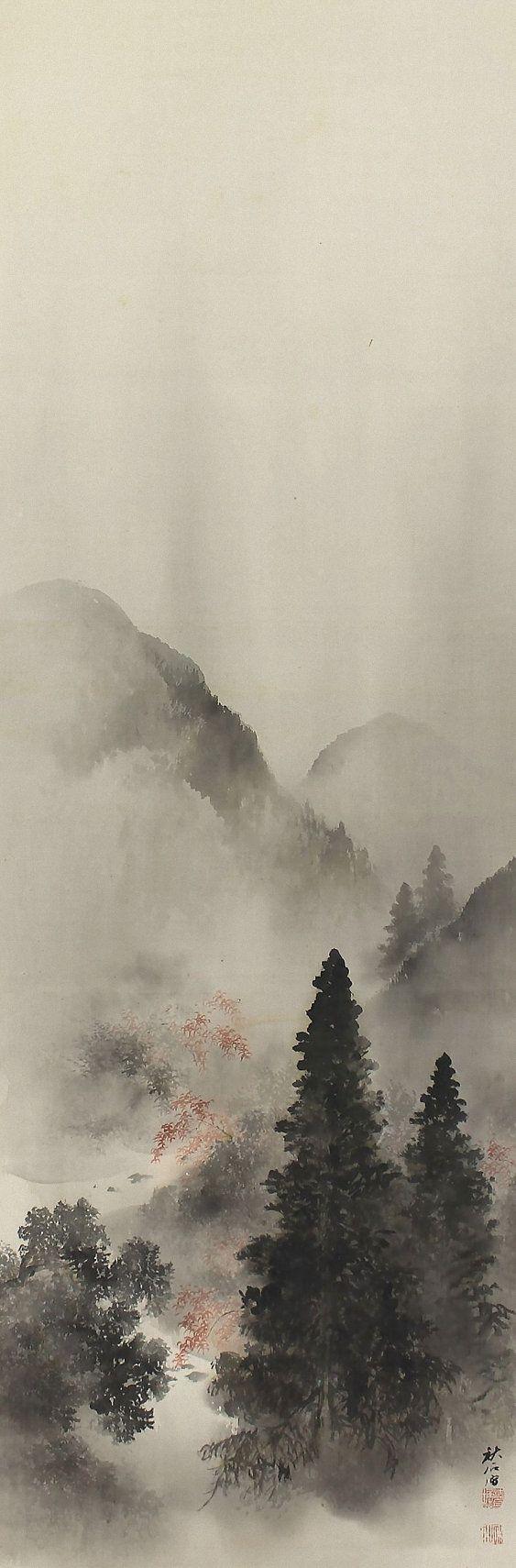 Autumn landscape by okutani shuseki 1871 1936 japanese for Japanese watercolor paintings