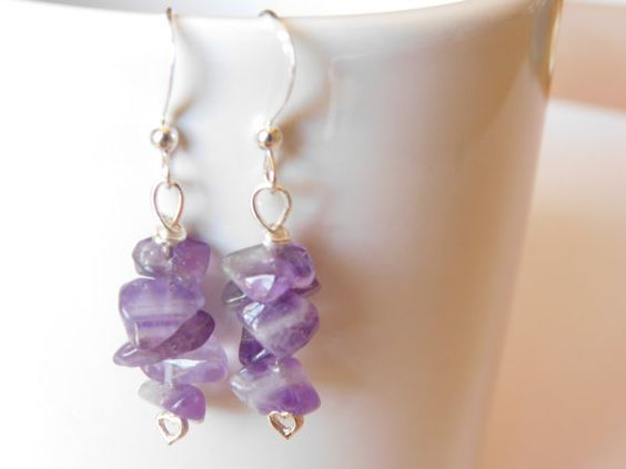 Amethyst Earrings Purple Earrings Dangle by DLDesignerCrafts