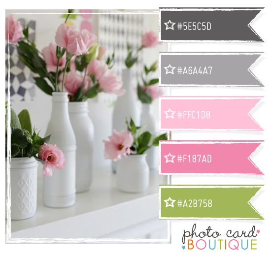 pretty pinks, grays, green...like the white vases too.  Looks like jars spray-painted white?
