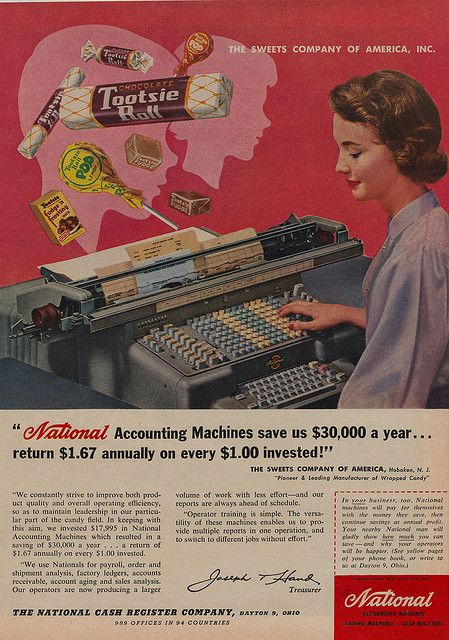 Tootsie Rolls and National Accounting Machines combine in this two-on-one-page ad from the 1950s.
