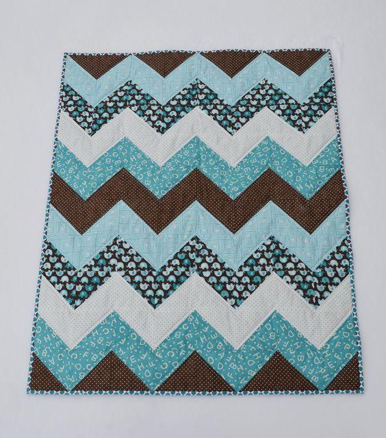 Modern Chevron Baby Quilt - Quilt, Kleuren en Chevron