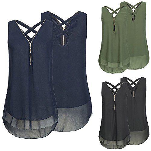 Blouses for Women,Shirts for Women Loose Sleeveless Tank Top Cross Back Hem Layed Zipper V-Neck T Shirts Tops
