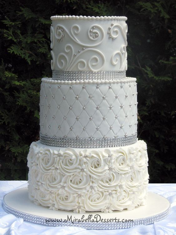 white wedding cake with silver ribbon silver pearls sofia and wedding on 27422