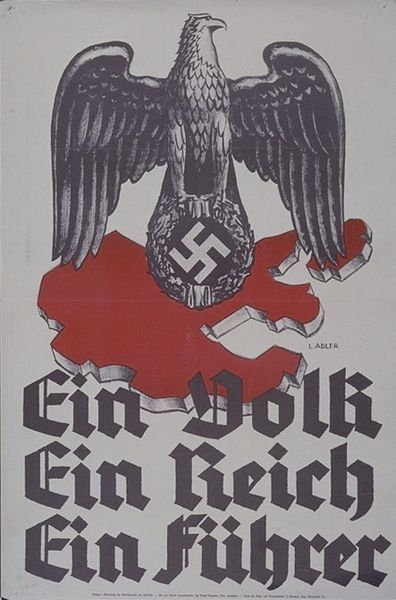 "A 1938 poster released by the Reichsministry of Public Enlightenment in honor of the Anschluss (unification of Austria and Germany) which occurred just days prior to its publication. It contains the new borders of the unified state and the the famous words ""Ein Volk, Ein Reich, Ein Führer!"" (""One People, One Empire, One Leader!""), which was the compelling slogan used by the populations of both nations in the campaign to unify the two ethnic-German countries."