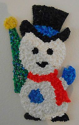 "Vintage Melted Plastic Popcorn 18.5"" SNOWMAN Christmas Decoration"