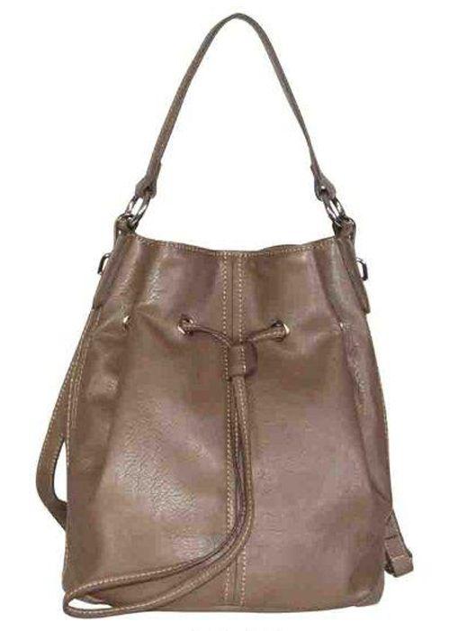 Drawstring bag en marrón, con cierre de cordel, prefecto para dar un toque casual a tu look.