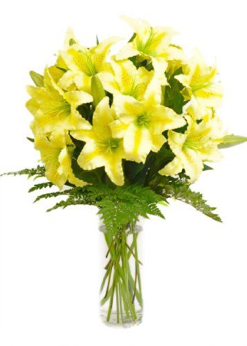 Yellow Lily Bouquet (8 Stems) - With Vase - http://yourflowers.us/yellow-lily-bouquet-8-stems-with-vase/: