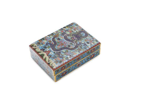 A Chinese square cloisonné 'dragon' box with cover Qianlong four-character seal mark