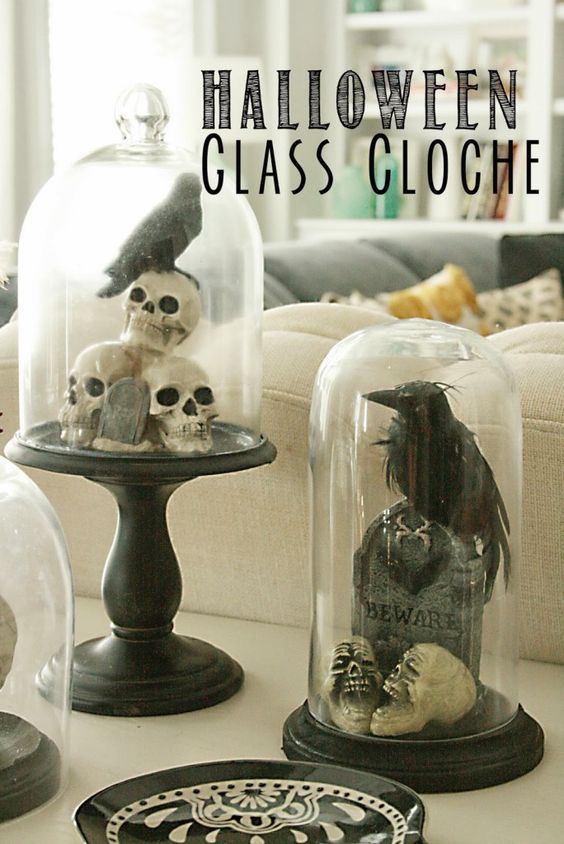 Decorating with glass cloches are my current fave. Remember the floral terrarium? They are so easy to make in minutes, and gives an expensive decorating look for less. Glass cloches are perfect for mantles, tablescape or even bookends. This DIY Halloween decoration can be used year after year. Here are  Read More