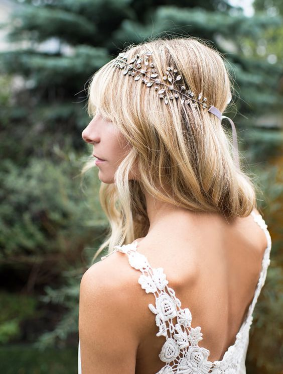 Boho Silver Hair Crown Halo Hair Wrap Crystal by LottieDaDesigns