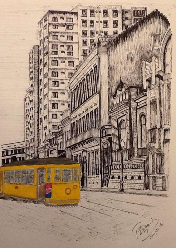 Colégio Anchieta - Rua Duque de Caxias - Porto Alegre - RS - Brasil - anos 60. À direita o Museu Julio de Castilhos e ao fundo o Colégio Sevigne. Porto Alegre e seus Bondes.  Nankin & Watercollor.