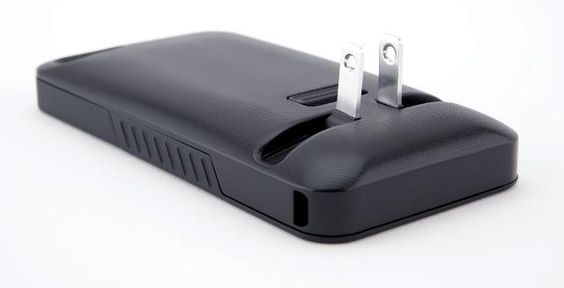 An iPhone case with a built in charger.