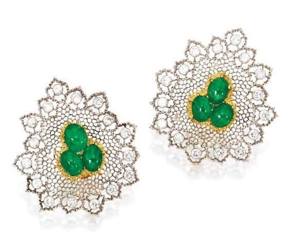 Pair of 18 Karat Two-Color Gold, Emerald and Diamond Earrings, Buccellati