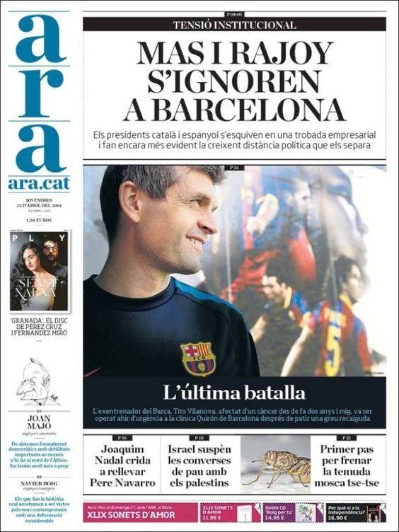 """La última batalla"" | Portada de Ara (España)"